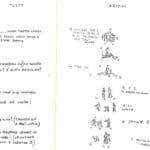 Giorgio Barberio Corsetti. Descrizione di una battaglia. 1988. Storyboad seconda scena. Disegni di Giorgio Barberio Corsetti. Pubblicati in G. B. Corsetti, R. Molinari (a cura di), 'L'attore mentale', Ubulibri, Milano, 1992.