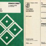 Carmelo Bene. Pinocchio 1982. Theater of Pisa. Theatre programme.
