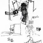 Studio Azzurro. La camera astratta. 1987. Studio preliminare. Disegni di Paolo Rosa e Leonardo Sangiorgi. Pubblicato in Studio Azzurro e Giorgio Barberio Corsetti, 'La camera astratta, tre spettacoli tra teatro e video', Ubulibri, Milano 1988.