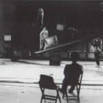Studio Azzurro. La camera astratta. 1987. Alcune fasi dell'allestimento, della scene e del set a Kassel per Documenta 8 . Foto di Studio Azzurro. Pubblicata in Studio Azzurro e Giorgio Barberio Corsetti, 'La camera astratta, tre spettacoli tra teatro e video', Ubulibri, Milano 1988.