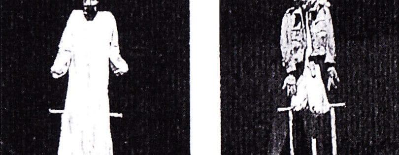 Foto, Maschere, Woyzeck, Cecchi, 1974, da Sergio Tramonti, Canto con controcanto accanto, Catalogo, A.A.M. Architettura Arte Moderna 1987 (in occasione delle mostre in contemporanea presso la galleria A.A.M. Architettura Arte Moderna e Teatro Due di Roma, a cura di Francesco Moschini, 11 maggio–7 giugno 1987)