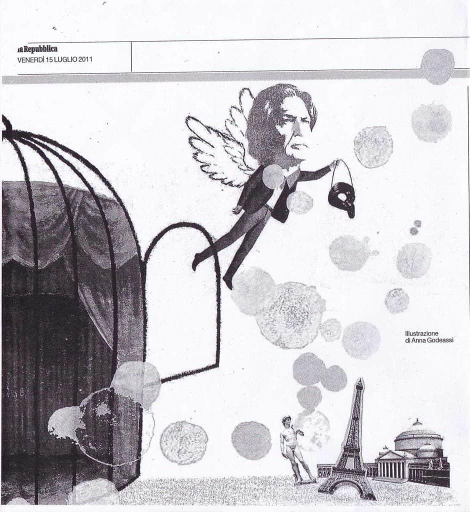 Carlo Cecchi.illustrazione di Anna Godeassi in «La Repubblica»15 luglio 2011.