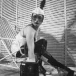 I Magazzini Criminali. Crollo nervoso. 1980. Foto di Patrizia Rossi. Pubblicata in Rossella Bonfiglioli (a cura di) 'Frequenze barbare : Teatro Ambiente, Cinema, Mass Media, Metropoli, Musica, Pornografia nel Carrozzone Magazzini Criminali Prod.', La Casa Usher, Firenze 1981, p.57