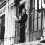 Dario Fo during the occupation of the Palazzina Liberty in Milan, 1974