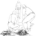 Claudio Remondi e Riccardo Caporossi. Pozzo. 1978. Disegno di Riccardo Caporossi, pubblicato in Sabrina Galasso, Il teatro di Remondi e Caporossi, Roma, Bulzoni, 1998