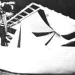 Moby Dick. Mario Ricci.1972. Claudio-Achab guarda l'orizzonte, appena la bocca mostruosa di Moby Dick (rappresentata sulle vele) si avvicina. © foto di Luigi Perrone