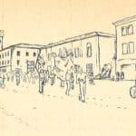 Giuliano Scabia. Il Gorilla Quadrumàno. 1974. Corteo a Novi di Modena. Disegno di Giuliano Scabia. © Tutti i diritti riservati.