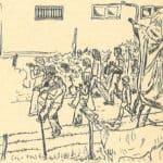 Giuliano Scabia. Il Gorilla Quadrumàno. 1974. Il Gorilla in giro per il paese di Succiso a invitare gente. Disegno di Giuliano Scabia. © Tutti i diritti riservati.