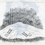 Fabrizio Montecchi, Studio per Il corpo sottile (scale), non realizzato, Album aprile-maggio 1988. Archivio privato dell'artista