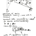 Studio Azzurro. Delfi (studio per suono, voce, video e buio). 1990. Studio preliminare. Disegni di Paolo Rosa e Studio Azzurro. Pubblicato in N. Pittaluga e V. Valentini, a cura di, «Studio Azzurro. Teatro», Contrasto, 2012.