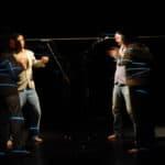 Tam Teatromusica, deForma*, 2007-2009, performer e digital painting in deForma'09, foto di Michele Sambin, Archivio Tam in Dvd, Vol. III, n. 18, Padova, Edizioni Tam, 2010.