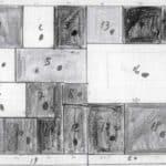 Achille Perilli. Collage. 1961. Schema dell'armadio con gli oggetti previsti nei vari scomparti. Bozzetto di Achille Perilli.