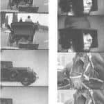 Achille Perilli, Gruppo Altro. Altro/Merz.1973. Nei fotogrammi l'uomo a cavallo viene inseguito dal taxi in cui è Auguste. Pubblicata in 'altro. Dieci anni di lavoro intercodice', edizioni Kappa, 1981
