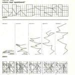 Achille Perilli, Gruppo Altro. Altro/ICS. 1977. Disegni della pianta e dei prospetti dello schema degli appiattimenti. Pubblicato in 'Altro. Dieci anni di lavoro intercodice', edizioni Kappa, 1981.