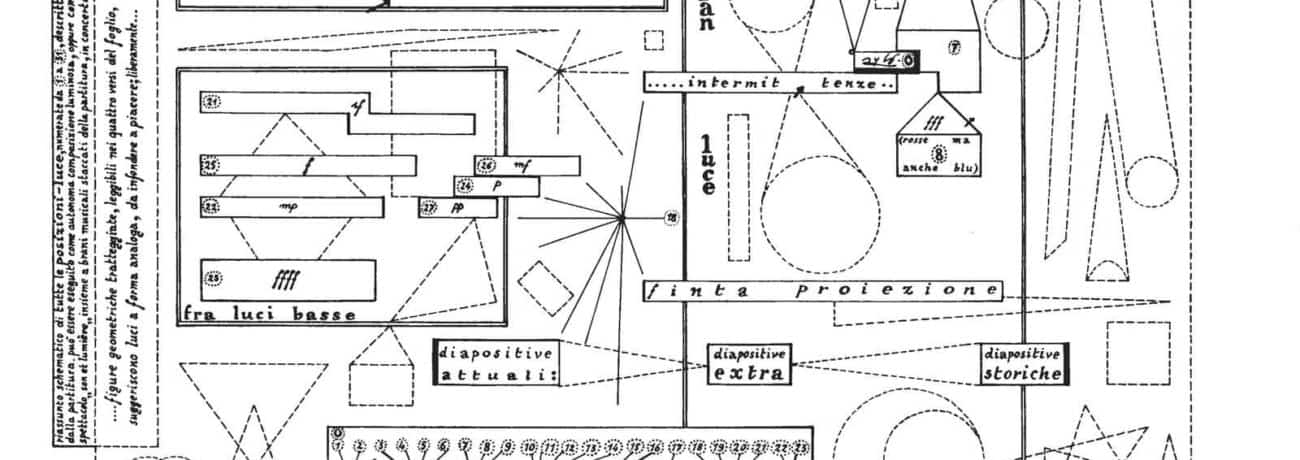 Sylvano Bussotti. La Passion Selon Sade. 965. Schema per le luci e le proiezioni. Pubblicato in: Sylvano Bussotti, La Passion Selon Sade, Ricordi, Milano 1966, p. 5.