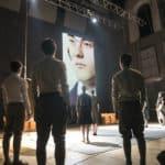 Lingua Imperii. Anagoor. 2013. Gli attori guardano il susseguirsi di ritratti in video. Foto di © Andrea Macchia