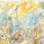 Miracolo della rosa. 1988. Bozza per il fondale, disegnato da Danio Manfredini, inedito conservato presso l'Archivio Privato de La Corte Ospitale.