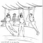 Marcido Marcidorjs e Famosa Mimosa, Una giostra: L'Agamennone, 1988. Disegno di Daniela dal Cin. Da Marcido Marcidorjs, Famosa Mimosa, Una giostra: l'Agamennone, Edizioni del Noce, 1990